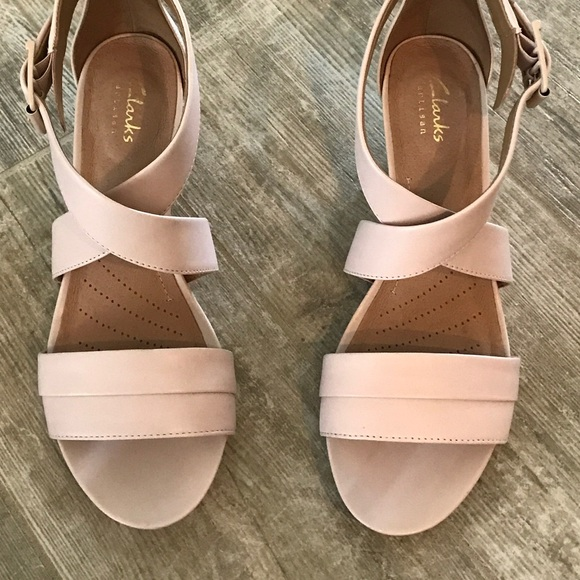 buying new casual shoes variety design Clark's pink wedge sandals